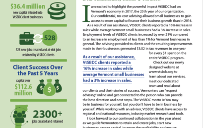 VtSBDC Annual Report Shows Jobs Created And Retained